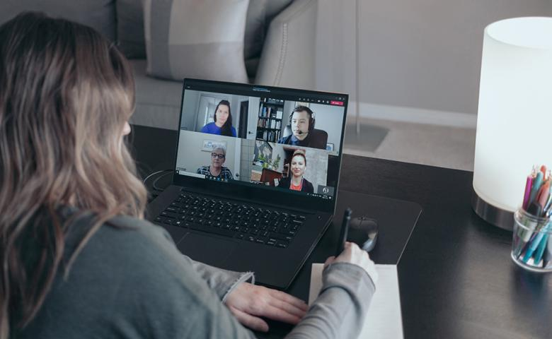 ASEBP employees on a video call as they work from home.