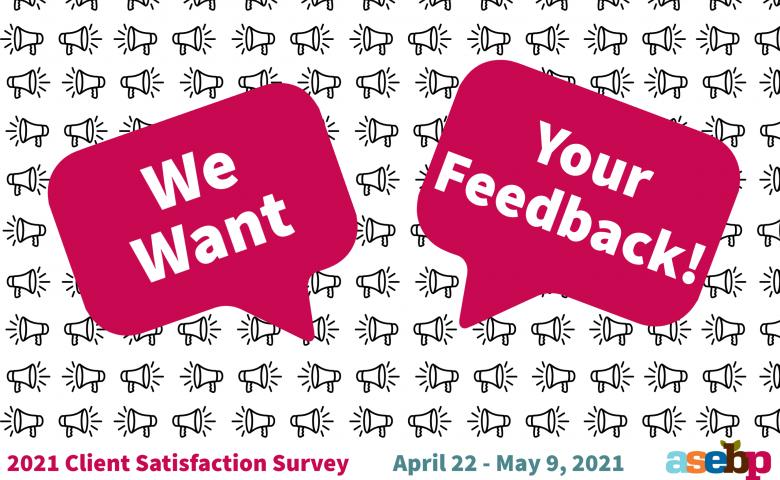 Two pink speech balloons; one says we want and the other says your feedback.
